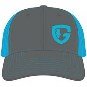 teal blue and charcoal trucker cap with G logo